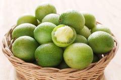 Close up brazilian fruit Spondias tuberosa (Brazil plum, imbu, u Stock Photos