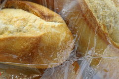 Close up of bread under plastic film Royalty Free Stock Photography