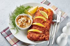 Close-up of Breaded fish fillet, top view stock image