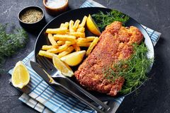 Close-up of Breaded hake fillet on a plate royalty free stock image