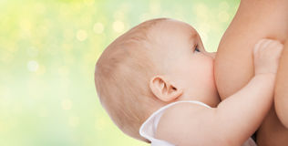 Close up of breastfeeding baby Royalty Free Stock Image