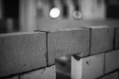 Brick wall under construction royalty free stock photos