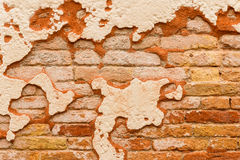 Close up brick wall broken plaster Royalty Free Stock Images