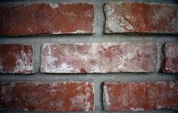 Close up of a brick wall, wide gap between bricks royalty free stock images