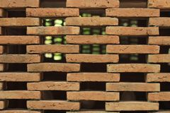 Brick walls, alternating zigzag spaces To allow the wind to pass through. Close up Brick walls, alternating zigzag spaces To allow the wind to pass through stock images