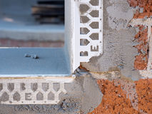 Close up of bricks, concrete render and reinforcing Royalty Free Stock Photography