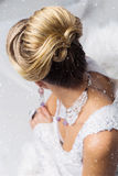 Close-up of bridal babette hairdo. Close-up of beautiful wedding babette hairdo. Blonde bride. Copy space Royalty Free Stock Photography