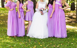 Close up of bride and bridesmaids Royalty Free Stock Photo