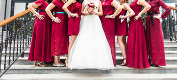 Close up of bride and bridesmaids Royalty Free Stock Photos