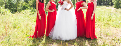 Close up of bride and bridesmaids Royalty Free Stock Photography