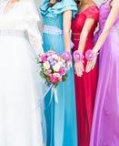 Close up of bride and bridesmaids bouquet Stock Photos