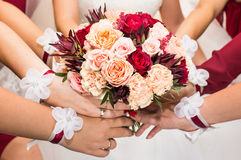 Close up of bride and bridesmaids bouquet Royalty Free Stock Photo