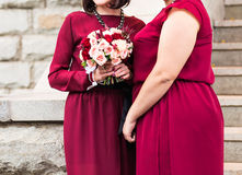 Close up of bride and bridesmaids bouquets Stock Photography