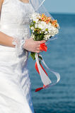 Close-up of bride with flowers Royalty Free Stock Photos