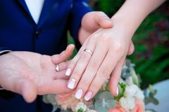Close-up Bride and groom`s hands with wedding rings. Groom putting golden ring on finger. Love and marriage Royalty Free Stock Photo