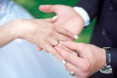 Close-up Bride and groom`s hands with wedding rings. Groom putting golden ring on finger. Love and marriage Royalty Free Stock Image