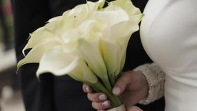 Close up of bride hold bouquet in hands stock video