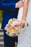 Close up of bride holding beautiful wedding Royalty Free Stock Images
