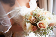 Close Up Of Bride Holding Bouquet Royalty Free Stock Images