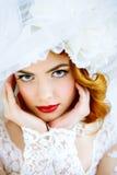 Close-up bride portrait stock photography