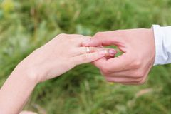 Close-up of putting on rings at an outdoor wedding Royalty Free Stock Images