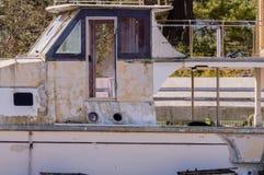 Close up of the bridge of an old yacht Stock Photos
