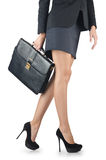 Close up of briefcase and businesswoman Royalty Free Stock Photography