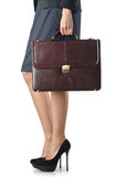 Close up of briefcase and businesswoman Royalty Free Stock Images