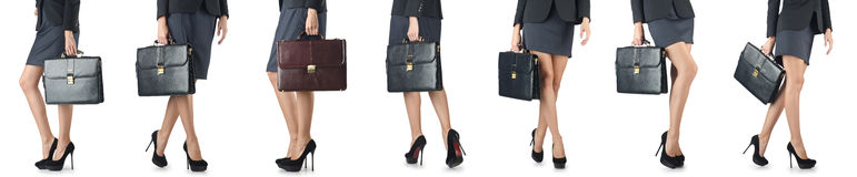 The close up of briefcase and businesswoman Stock Photo