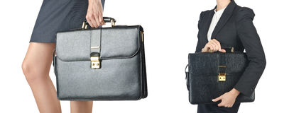 The close up of briefcase and businesswoman Royalty Free Stock Photo