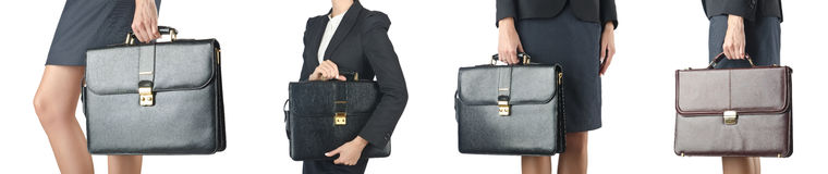 The close up of briefcase and businesswoman Stock Photos