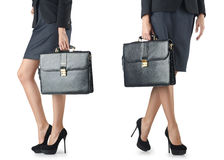 The close up of briefcase and businesswoman Stock Images