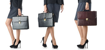 The close up of briefcase and businesswoman Stock Image