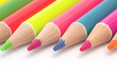 Close up bright color pencils Stock Photos
