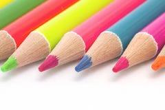 Close up bright color pencils Stock Photos