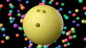 Close up on a Bright Yellow Bowling Ball Stock Photography