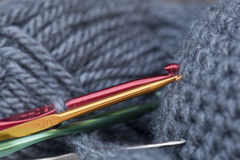 Colored crochet hooks Stock Images
