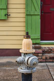 Close-up of a Brightly Colored Fire Hydrant and Row House in New Orleans. A close-up shot of a fire hydrant in the French Quarter of New Orleans with a brightly Stock Image