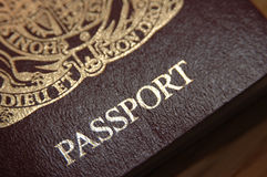Close up of a British Passport. Close up view of the lower portion of a British (United Kingdom) passport Royalty Free Stock Photos