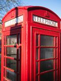 Close-up of British red telephone box in London. stock photography