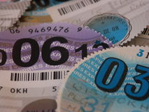 Close up of British vehicle tax discs Stock Photography