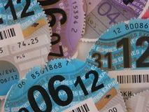 Close up of British vehicle tax discs Royalty Free Stock Photos