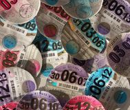 Close up of British vehicle tax discs Royalty Free Stock Photo