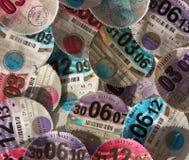 Close up of British vehicle tax discs Royalty Free Stock Photo
