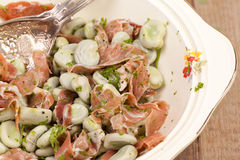 Close up broad beans and parma ham salads Royalty Free Stock Photography