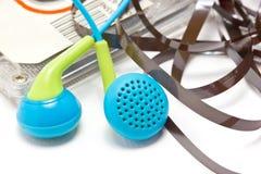Close Up Of Broken Audio Cassette. With Earphones. Stock Images