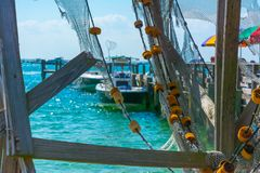 Close up of Broken Fishing Nets in a Sunny Day. On Blur Background. Destin Marina, Florida stock photography