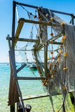 Close up of Broken Fishing Nets in a Sunny Day. On Blur Background. Destin Marina, Florida royalty free stock images