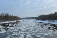 Close up of broken ice in flowing river stock images