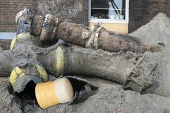 Close up of broken parts sewerage. Broken sewerage in a heap Stock Photos